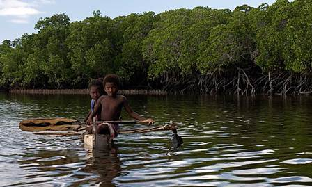 Vezo children fishing in mangrove lagoon, southwest Madagascar. Copyright Garth Cripps, Blue Ventures Conservation